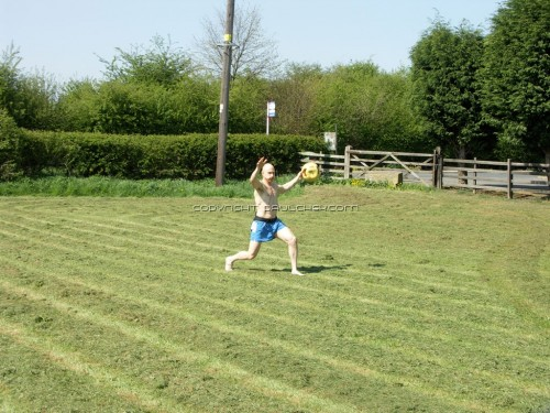 Here I am working out in the field in front of Emma's house.