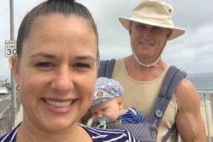 Angie Mana and Daddy walking Carlsbad